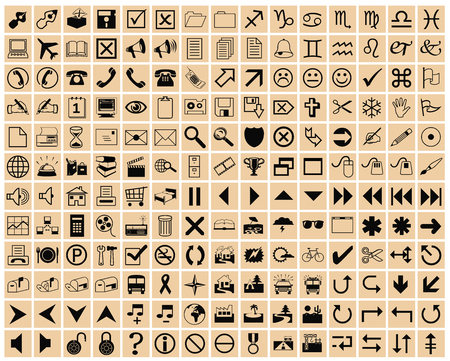 lightbrown squares with black office icons Vector