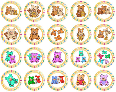 eyecatcher: round colorful circles with teddy bears Illustration