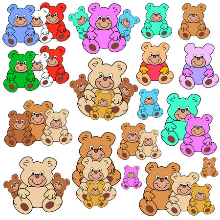 collection of teddy bears in different groups and colors