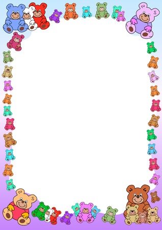 textbox: colorful background with teddies border