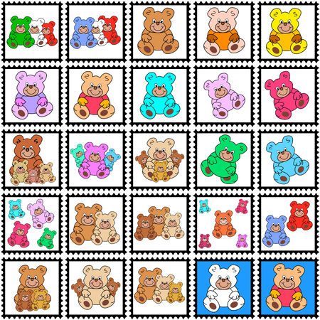 eyecatcher: collection of stamps with teddy bears Illustration
