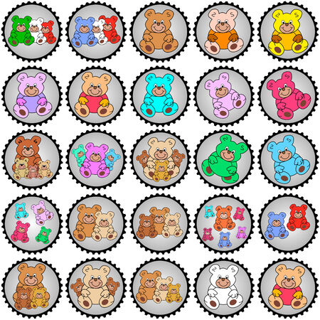 eyecatcher: collection of round teddy stamps