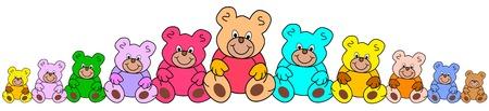 line of colorful teddies Vectores