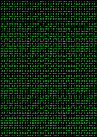 Black background with green binary code Vector