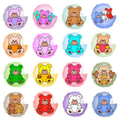 colored round splotches with teddy bears Vectores