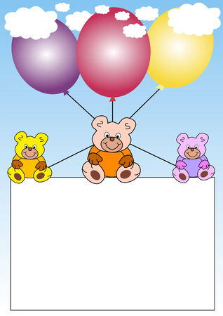 white banner with teddies hanging on balloons