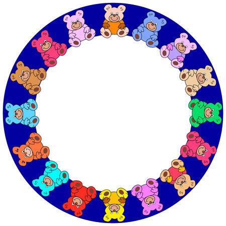 darkblue round border with colorful teddies