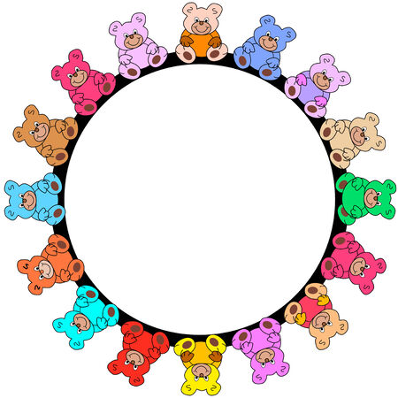 round border out of colorful teddies