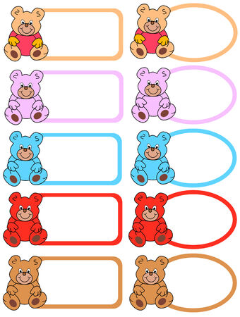 colored labels with colorful teddy bears