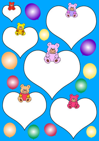 Blue background with white hearts with black border, teddies and colorful balloons Vector