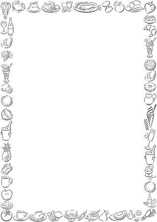 menue: border of food symbols Illustration