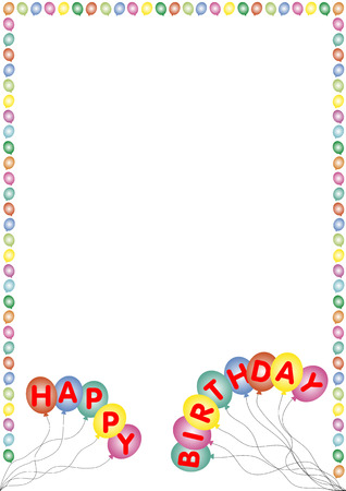 balloon border: happy birthday