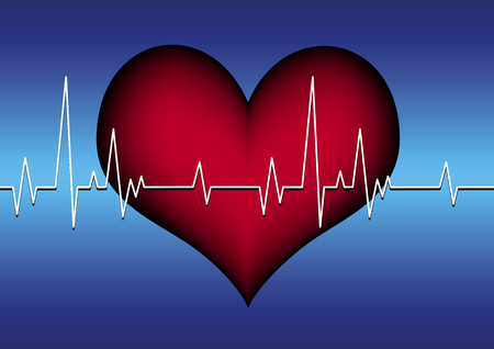 heart and cardiogram Vector