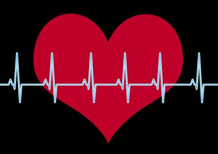 ritme: hart en cardiogram  Stock Illustratie