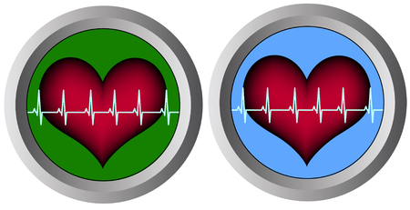 distressing: round monitors with hearts Illustration