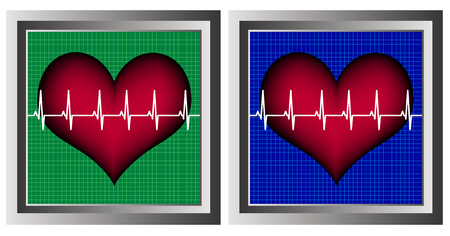 distressing: square monitors with hearts Illustration
