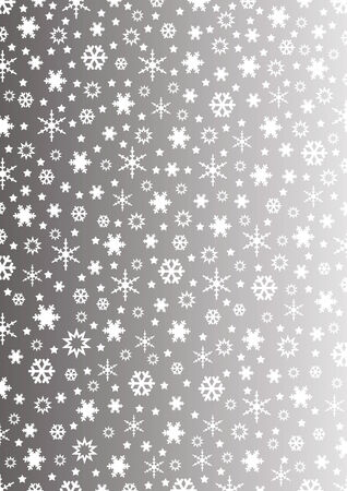 flakes: snowflakes and stars on grey gradient Illustration