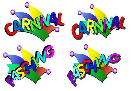 fasching: colorful carnival caps and slogans