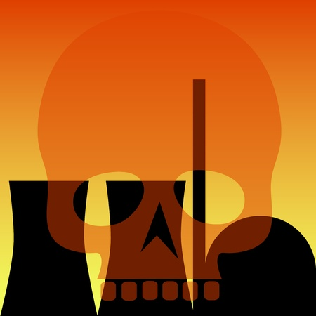 nuclear power station and transparent skull Stock Vector - 9419282