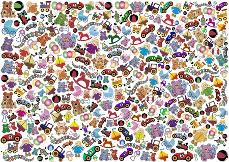 Background out of little toys Vector