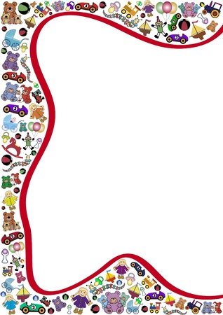 curved line: toys background red curved line
