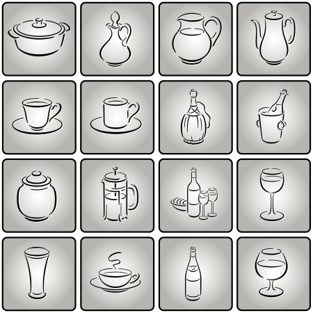 greyscale: buttons with gastronomy smallware symbols in greyscale
