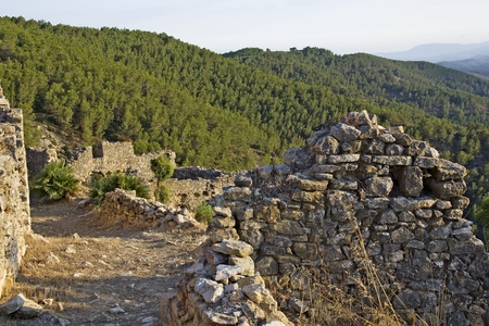 templars: walls and ruins of Castillo de Xivert, templar castle near Alcal�r - Spain
