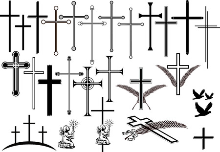 Colección de cruces y otros símbolos orbituary Ilustración de vector