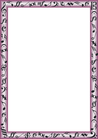 red border with black music notes and signs Vectores