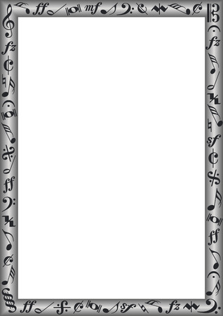 grey border with black music notes and signs