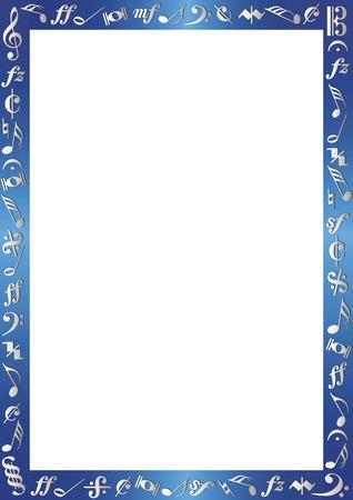 grens: blauw metallic grens met zilverkleurige musiknotes Stock Illustratie
