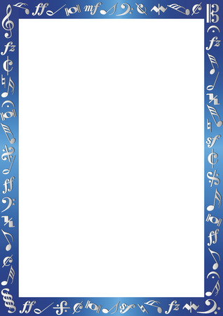 notes: blue metallic border with silver colored musiknotes