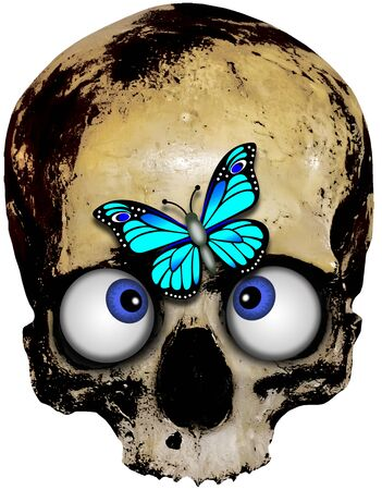 pale cross-eyed skull with blue butterfly