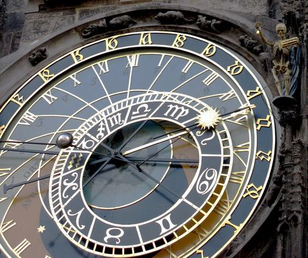 timekeeping: Orloj - the famous old medieval astronomical clock in Prague, capital of Chech Republic.