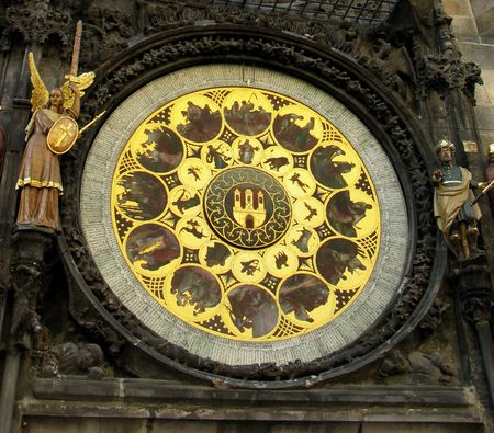 memento: Famous old medieval astronomical clock in Prague, capital of Chech Republic.