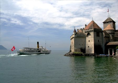 chillon: The Chillon Castle in Montreux, Switzerland, overlooking Lake Geneva. Stock Photo