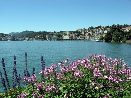 The world-famous resort Lugano and Lugano lake. Switzerland. photo