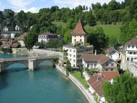 Medieval houses lining the banks of the Aare river in Bern, the capital of Switzerland. Stock Photo