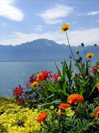 Lake Geneva. View from the embankment in the famous Europea resort Montreux. Switzerland. Stock Photo - 5168935