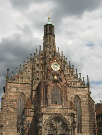 hauptmarkt:  The Church of Our Lady in Hauptmarkt in Nuremberg, Germany. Stock Photo