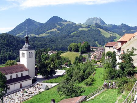 The Swiss village of Gruyere - the homeland of Swiss cheese