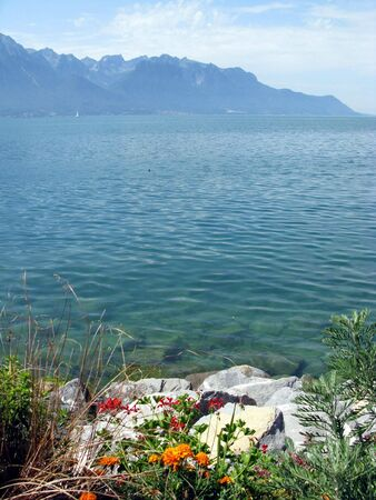 View of lake Geneva from the Embankment in the world-famous European resort Montreux.  Switzerland. photo