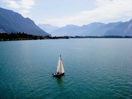 View of Lake Geneva from Shilonsky castle tower. Switzerland. photo