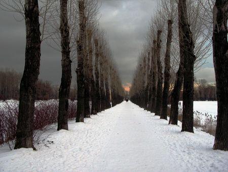 januar: Winter Gasse Lizenzfreie Bilder