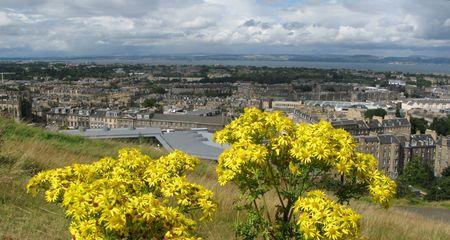 The flowers of Scotland. Panoramic view of Edinburgh, the capital of Scotland photo