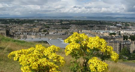 waverley: The flowers of Scotland. Panoramic view of Edinburgh, the capital of Scotland Stock Photo