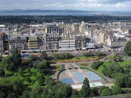 Aerial view of Edinburgh, the capital of Scotland, from the famous Edinburgh castle.