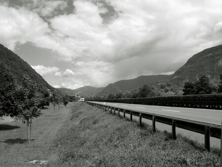 The lonely highway in the Italian Alps. photo