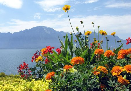 montreux: Lake Geneva. View from the embankment in the famous European resort Montreux. Switzerland. Stock Photo