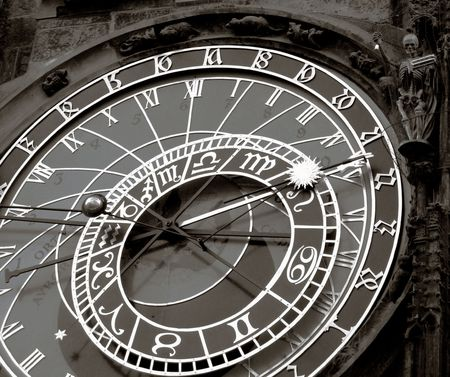 timekeeping: Orloy - Famous old medieval astronomical clock in Prague, capital of Chech Republic.